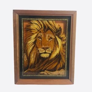 VTG Reverse Painted Wood Framed Picture Lion Head